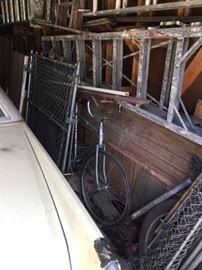 Garage: Vintage Bike, Ladders, Chain Link Fencing, Aluminum