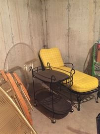 wrought iron patio carts and chaise