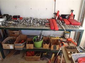 Snap-on & MAC tools top shelf, Craftsman etc bottom shelf