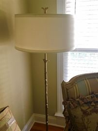 Heavy Gold Brass Floor Lamp  & Finial with Drum Shade