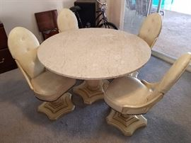 Solid Italian Marble table with four chairs