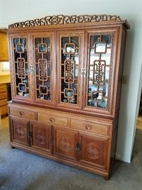 Beautiful Asian inspired china cabinet and hutch. Excellent condition