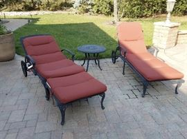 matching outdoor chaise lounges