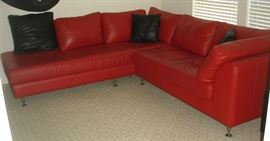 "Leather Sofa Co. ""Alexandria"" Miracle Red leather sectional sofa with chrome legs"