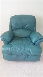 Teal Life Mate leather recliners (2)