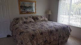 King size bed and bedding