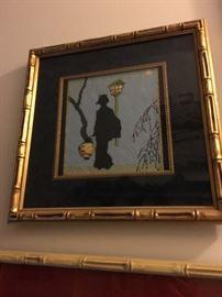 Framed needelpoint canvas