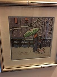 Framed needlepoint canvas