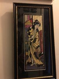 Framed needlepoint geisha canvas