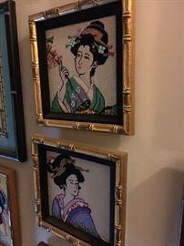 Framed needlepoint geisha canvases