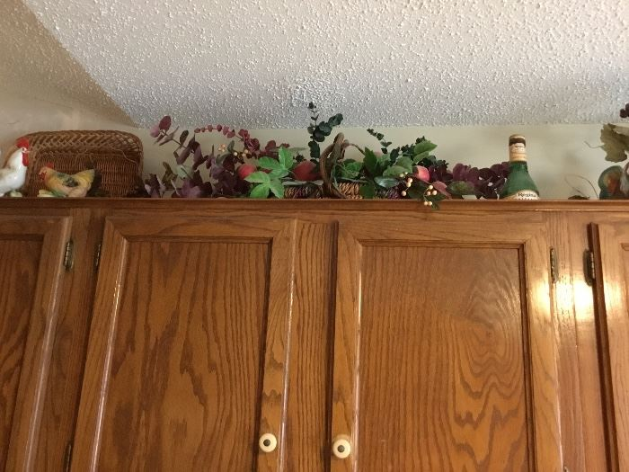 Decor on top of the cabinets in kitchen