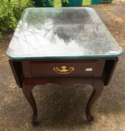 Glass Top Mid-Century Drop Leaf Table