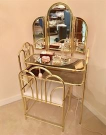 Brass and Glass Vanity Set
