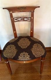 Pair of Antique ivory inlaid side chairs
