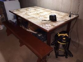 Tile top table, and side bench