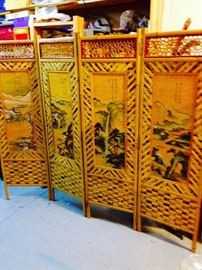 handpainted Asian bamboo screens, 4 available