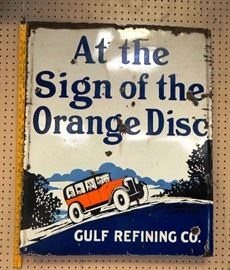 "1940's Gulf Refining Co. Porcelain Sign 27""x33"""
