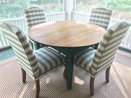 Shabby Chic vintage table and four upholstered chairs. (Chairs are priced separately from the table). Located in the house.