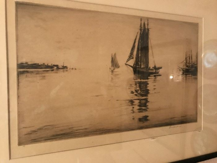 2 Drypoint Etchings by Levon West