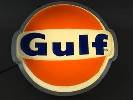 Lighted Gulf Oil Sign