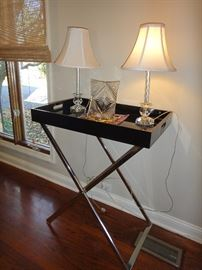 Black Lacquer Tray table with silver stand, Glass lamps, crystal picture frame