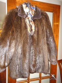 Beaver reversible jacket. leather inside