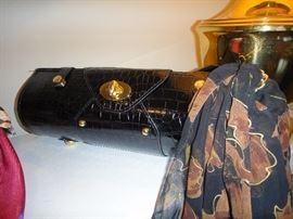 Black handbag and scarf