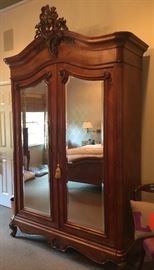 "Antique Victorian Armoire in Fruitwood w/Beveled Mirror, Inside: 2 Drawers & 1 Shelf (56"" x 24"" x 114"")"