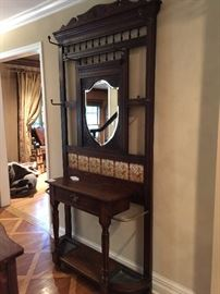 "Antique Oak Mirrored Entrance Table/Coat Rack w/Inset Tiles & 1 Drawer (41"" x 14"" x 90"")"