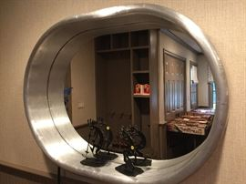 Contemporary Silver Oval Mirror