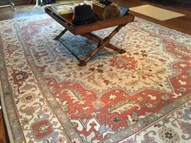 Ralph Lauren Kilim Rug in Muted Tones of Cream/Rust/Loden 10' x 14'