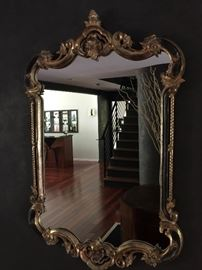 "Ornate Gold Gilt Mirror w/Black Accents ( 30"" x 47')"