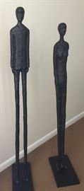 Pair of Abstract Male/Female Sculptures in Giacometti Style