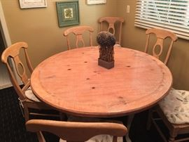 "54"" Round Table in Country Style White Washed Wood w/Cabriole Legs                                                                       6 Country Style White Washed Wood Chairs with Rush Seats & Floral Cushions"
