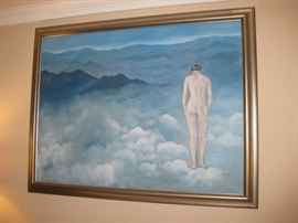 Large original oil painting. Up in the clouds.  Signed.