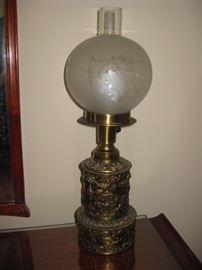 Vintage brass electric hurricane lamp.