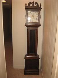 Antique oak grandfather/hall clock.