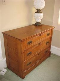 Antique 3-drawer solid oak dresser.  Victorian or Eastlake era.