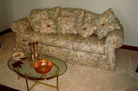 Drexel Heritage sofa, glass & brass coffee table & misc. items.