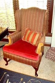 Custom wing back chair.