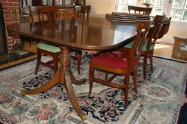 "Mahogany Dining Room Table -Opens to 96 inches(3 leaves & pads) & Wool Rug 7'4"" x10'2"""