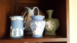 Wedgwood pitcher on the left.....not so Wedgwood on the right - (but very pretty)!