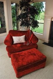 Oversized Red Love Seat with Matching Ottoman, 2 Seats