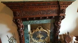 AMAZING ANTIQUE FIREPLACE MANTLE. HAND CARVED. ONE OF ONLY TWO KNOWN TO EXIST