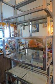 70's Chrome & Glass Shelving