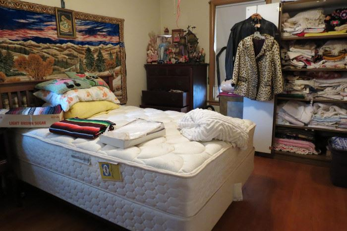 Queen CLEAN Mattress and MORE Vintage clothing.. This room is full of leather clothing