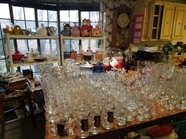 tons of glassware cookie jars depression glass