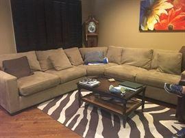 Microfiber sectional sofa, coffee table & rug