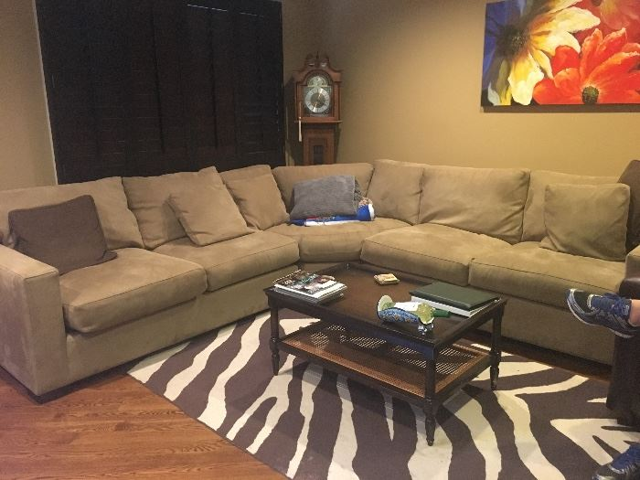 Microfiber sectional sofa, coffee table & rug