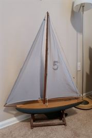 Authentic Nautical Pond Yacht - Awesome Stamped Sail